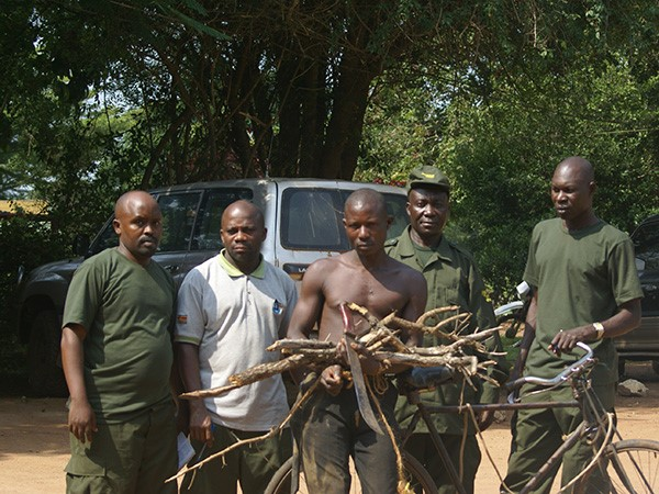 Game rangers arrest a poacher in Murchison Fall National Park. (Photo/Timothy Sibasi)