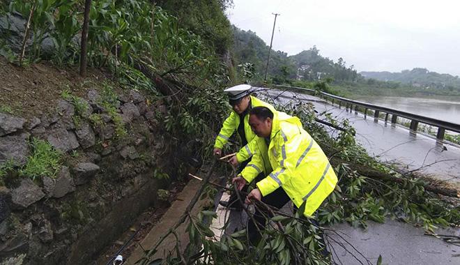 杨雪峰和同事一起排除道路险情