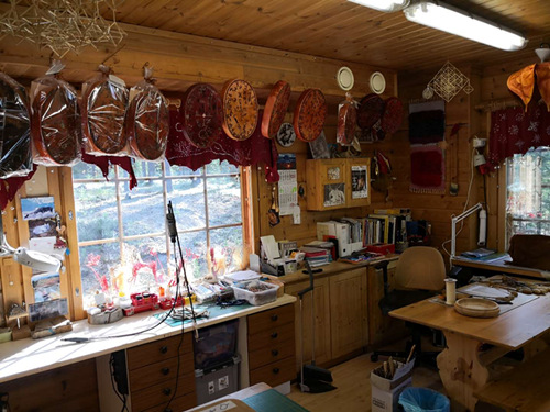 Handicrafts for sale at the home of Ari and Irene Kangasniemi where customers can use AliPay to purchase items in Rovaniemi, Finland.