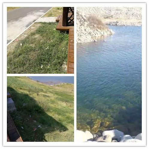 左二图为拒马河张坊段两岸的垃圾,右图为2008年拒马河因采石挖沙形成的大坑