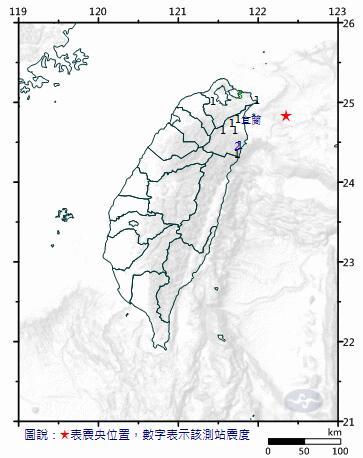 宜兰地震。图片来源:台湾气象部门官方网站