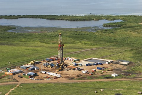 One of the oil wells owned by CNOOC in Uganda's oild district of Hoima. (Photo/Timothy Sibasi)