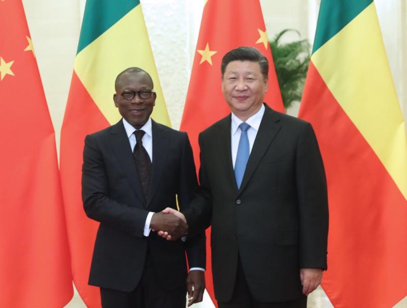 9月1日,国家主席习近平在北京人民大会堂会见贝宁总统塔隆。新华社记者 刘卫兵 摄