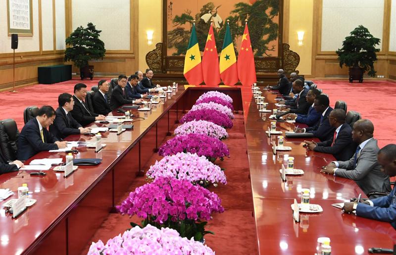 9月2日,国家主席习近平在北京人民大会堂会见塞内加尔总统萨勒。新华社记者 高洁 摄
