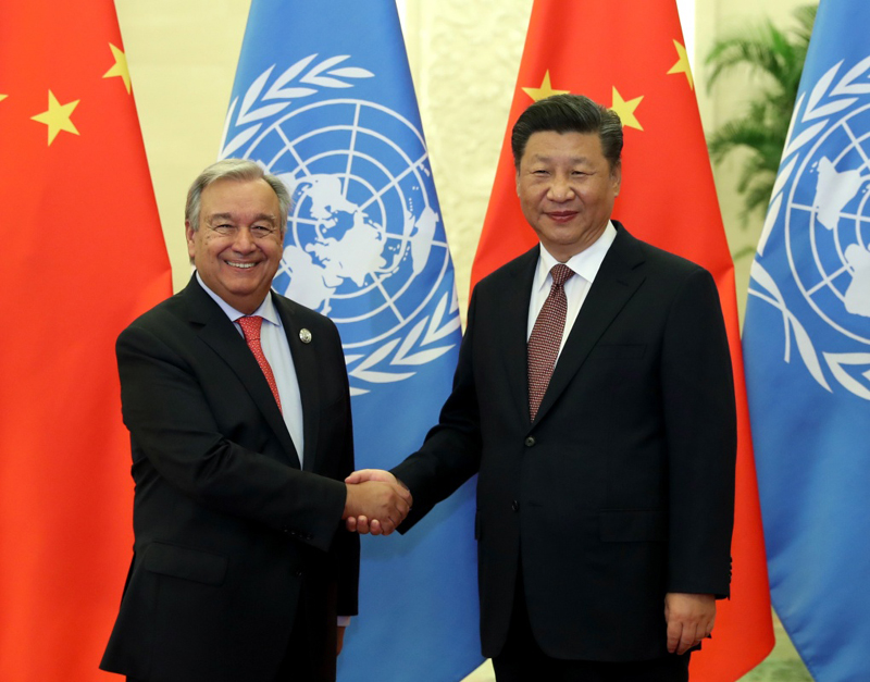 9月2日,国家主席习近平在北京人民大会堂会见联合国秘书长古特雷斯。 新华社记者 王晔 摄