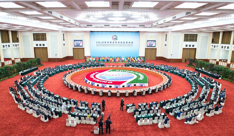 9月4日,中非合作论坛北京峰会圆桌会议在北京人民大会堂举行。国家主席习近平和论坛共同主席国南非总统拉马福萨分别主持第一阶段和第二阶段会议。新华社记者 李涛 摄