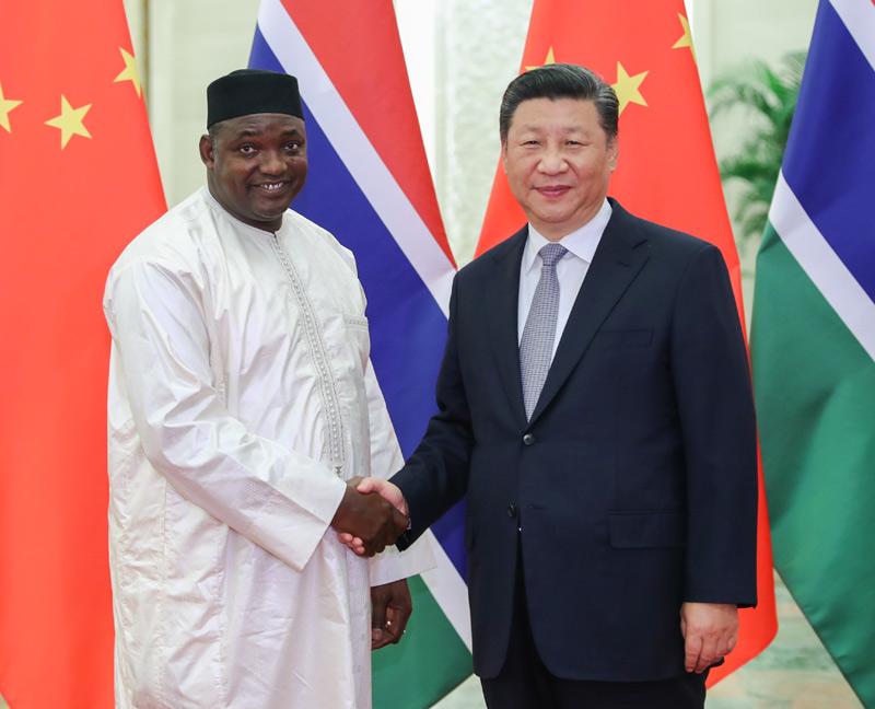 9月6日,国家主席习近平在北京人民大会堂会见冈比亚总统巴罗。新华社记者 谢环驰 摄