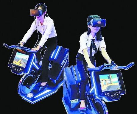 骑VR单车放松心情。(资料图)