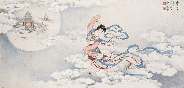 An ink painting by Chinese artist Zheng Mukang depicts the goddess Chang