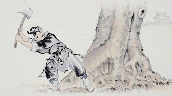 A Chinese painting depicts woodsman Wu Gang chopping a self-healing laurel tree in the Moon Palace. [file photo]
