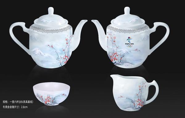 踏雪寻梅系列茶具,景德镇精湛工艺制作,每套售价:980元