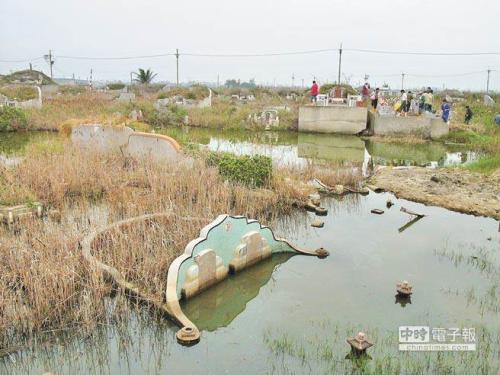 台湾云林沿海地区因地层下陷,墓地长年泡在水里。台湾《中时电子报》资料图