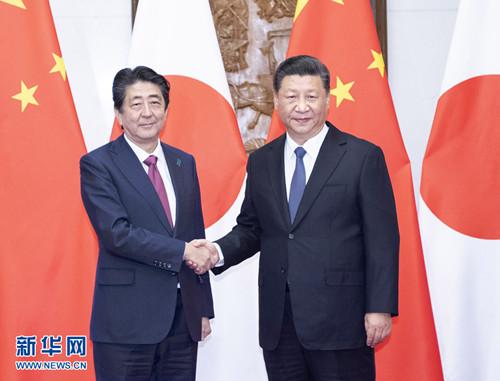10月26日,国家主席习近平在北京钓鱼台国宾馆会见来华进行正式访问的日本首相安倍晋三。 新华社记者李涛摄
