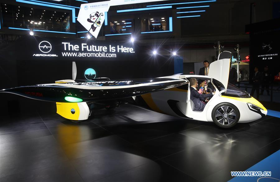 "Photo taken on Nov. 5, 2018 shows ""flying car"" developed by AeroMobil at the first China International Import Expo in Shanghai, east China."