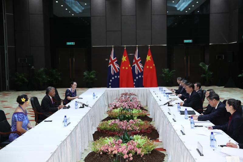 11月16日,国家主席习近平在莫尔兹比港分别会见建交太平洋岛国领导人。这是习近平会见库克群岛总理普纳。新华社记者 丁林 摄
