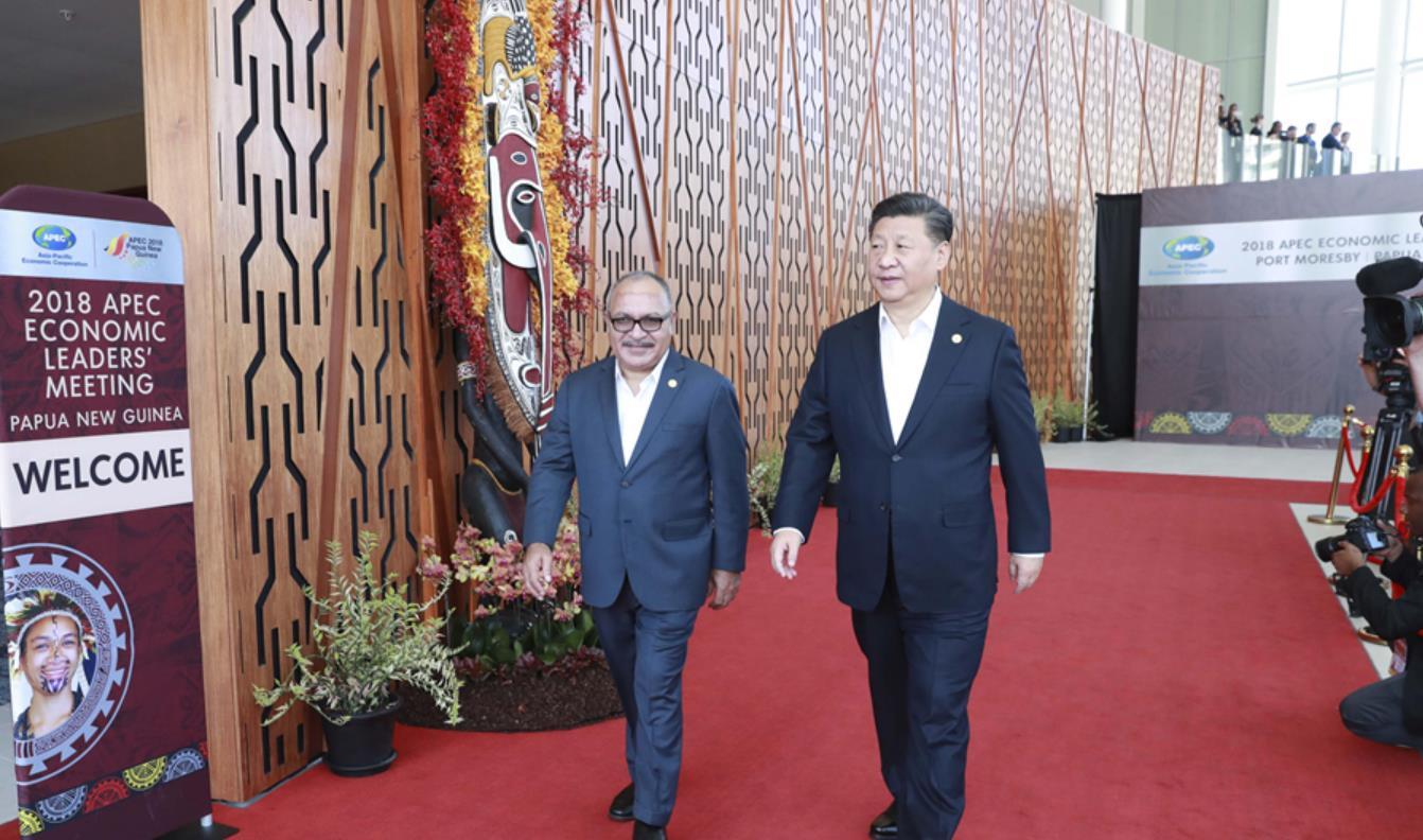 11月18日,亚太经合组织第二十六次领导人非正式会议在巴布亚新几内亚莫尔兹比港举行。国家主席习近平出席并发表题为《把握时代机遇 共谋亚太繁荣》的重要讲话。会议开始前,习近平同其他与会领导人依次抵达,受到巴布亚新几内亚总理奥尼尔热情迎接。