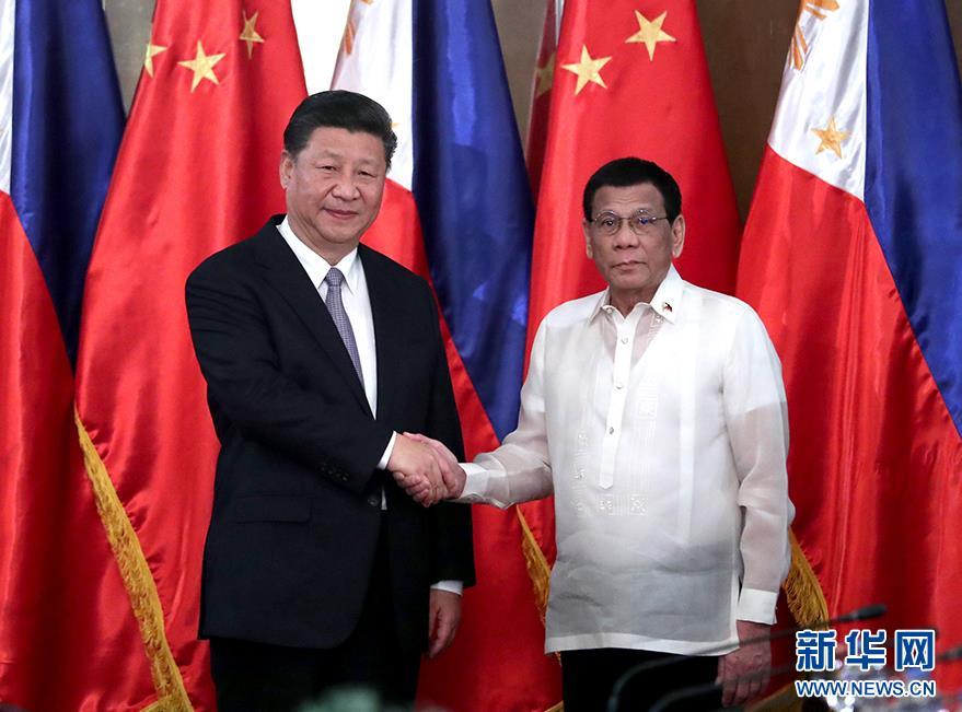 11月20日,国家主席习近平在马尼拉同菲律宾总统杜特尔特举行会谈。