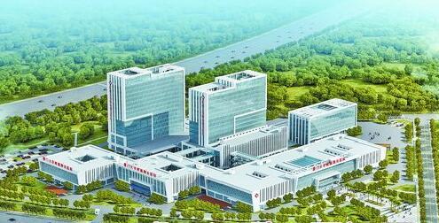 厦门大学附属翔安医院全景效果图。