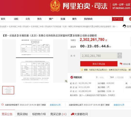 乐视旗下资产无人敢接盘 估值近33亿元网上拍卖遇冷
