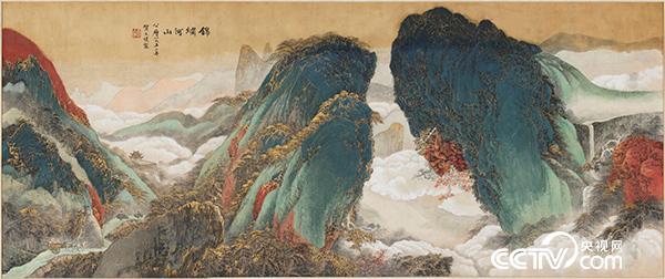 贺天健 锦绣河山 纸本水墨设色 149.4cm×360.7cm 1952 中国美术馆收藏