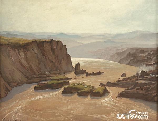 吴作人 三门峡工地 布面油彩 118cm×150cm 1955 中国美术馆藏