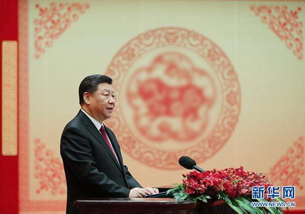 2月3日,中共中央、国务院在北京人民大会堂举行2019年春节团拜会。中共中央总书记、国家主席、中央军委主席习近平发表讲话。 新华社记者 鞠鹏 摄