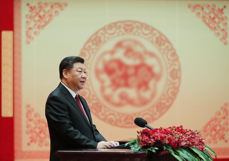 2月3日,中共中央、国务院在北京人民大会堂举行2019年春节团拜会。中共中央总书记、国家主席、中央军委主席习近平发表讲话。