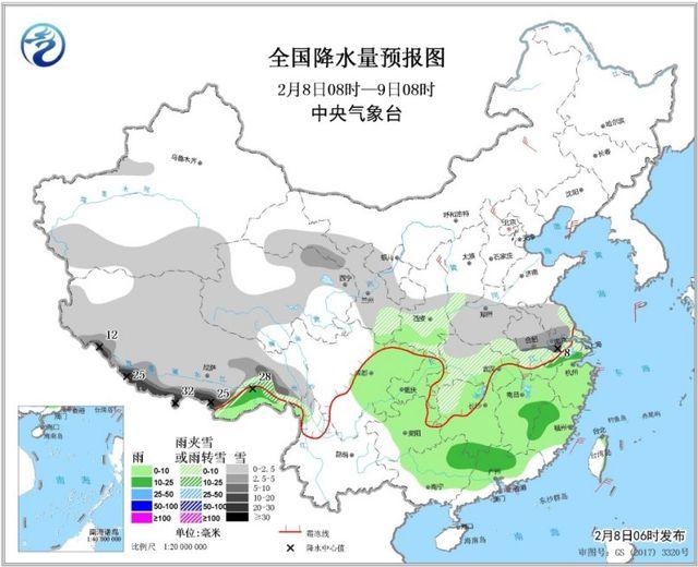 ↑图1 全国降水量预报图(2月8日08时-9日08时)