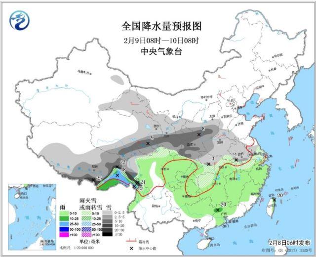 ↑图2 全国降水量预报图(2月9日08时-10日08时)