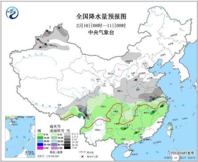 ↑图3 全国降水量预报图(2月10日08时-11日08时)