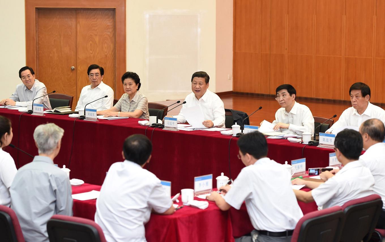 2014年9月9日,习近平在北京师范大学同学校师生代表进行座谈。新华社记者 马占成 摄