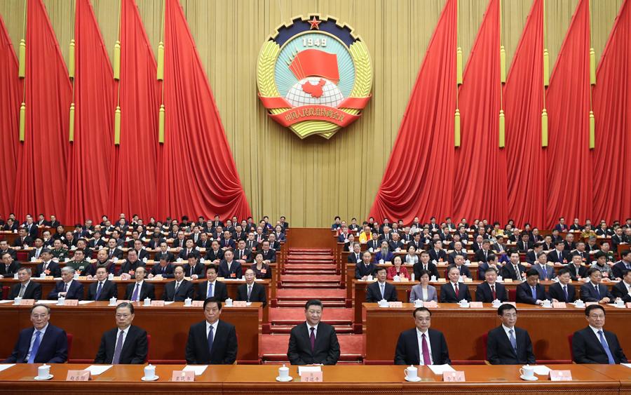 3月3日,中國人民政治協商會議第十三屆全國委員會第二次會議在北京人民大會堂開幕。這是習近平、李克強、栗戰書、王滬寧、趙樂際、韓正、王岐山在主席臺就座。