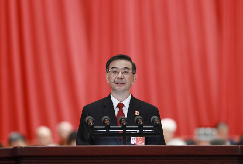 3月12日,十三届全国人大二次会议在北京人民大会堂举行第三次全体会议。最高人民法院院长周强作最高人民法院工作报告。