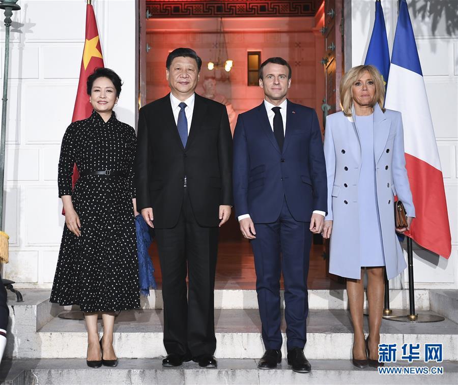 3月24日,国家主席习近平在尼斯会见法国总统马克龙。习近平夫人彭丽媛、马克龙夫人布丽吉特参加。这是习近平和夫人彭丽媛同马克龙总统和夫人布丽吉特合影。新华社记者谢环驰摄