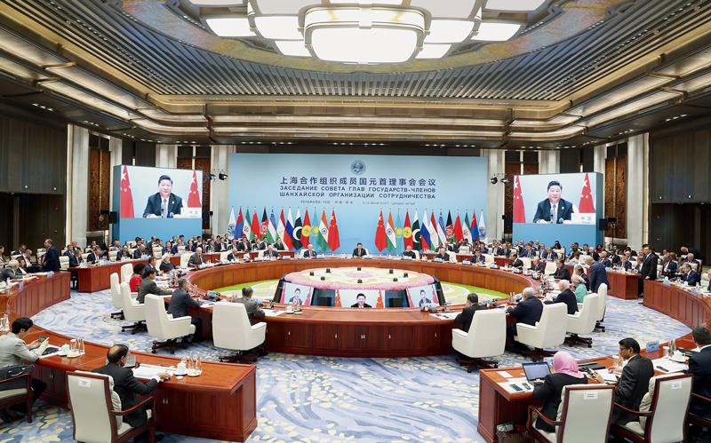2018年6月10日,上海合作组织成员国元首理事会第十八次会议在青岛国际会议中心举行。国家主席习近平主持会议并发表重要讲话。