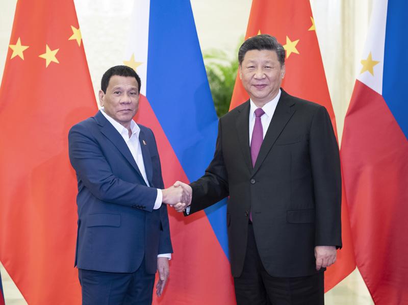 4月25日,国家主席习近平在北京人民大会堂会见菲律宾总统杜特尔特。