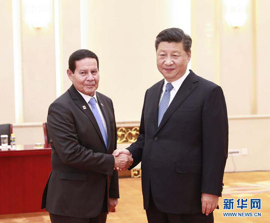 5月24日,国家主席习近平在北京人民大会堂会见巴西副总统莫朗。