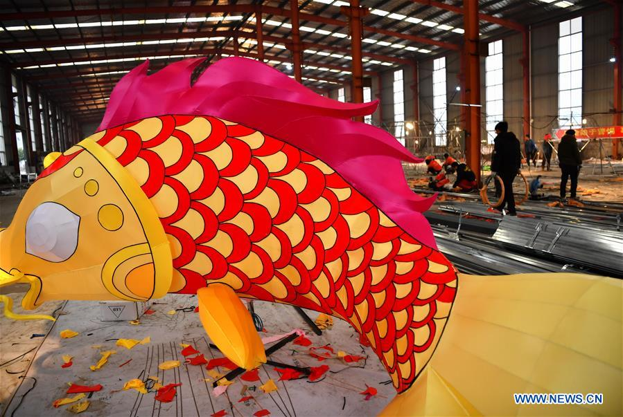 A large colored lantern is seen at a factory in Xuan