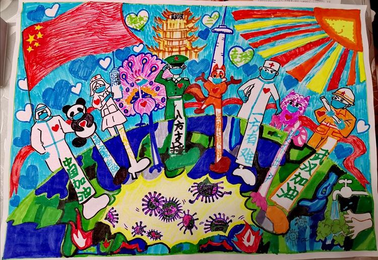 《抗擊疫情———在行動!》袁瑋澤  8歲   兒童畫