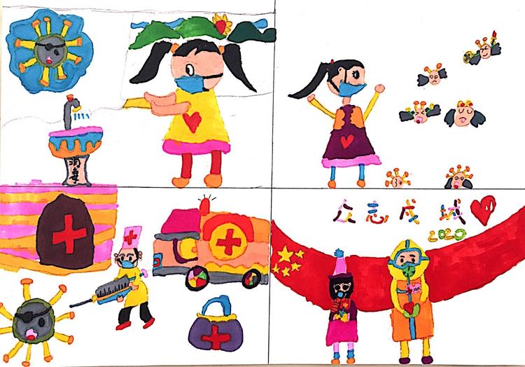 《抗擊肺炎從我做起》  丁藝桐  6歲     兒童畫