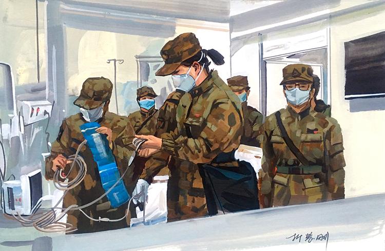 《來了·解放軍-之二》  折慧剛   水粉畫