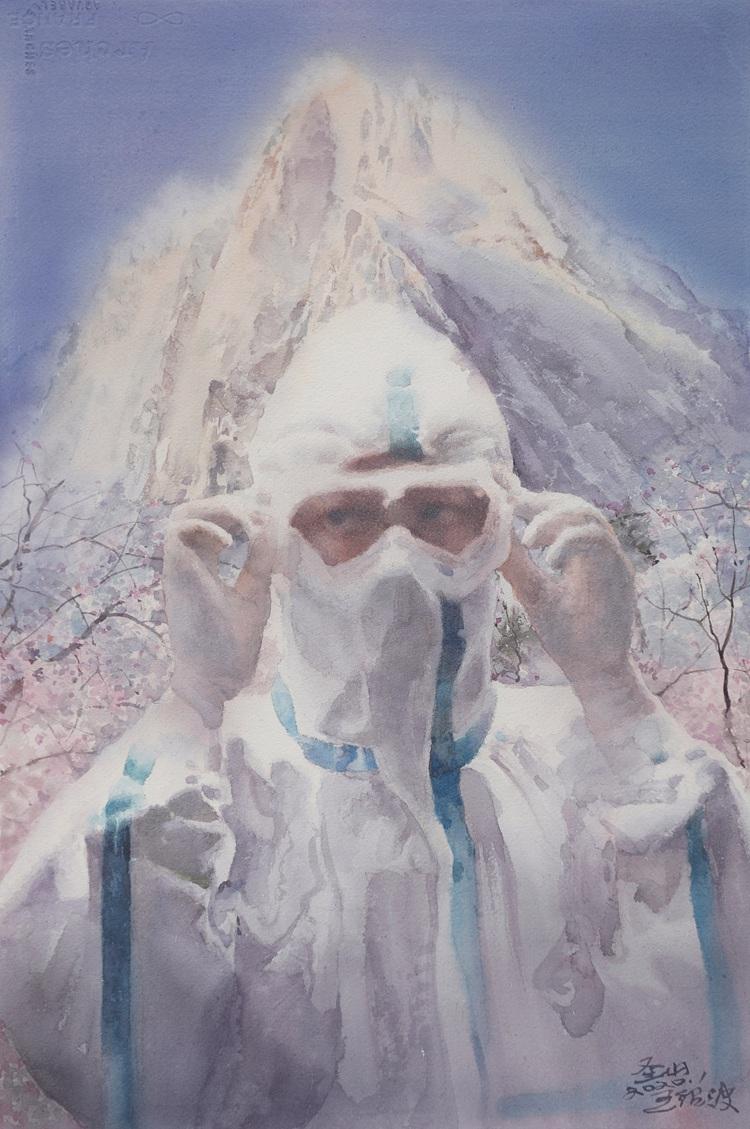 《聖山》  王紹波     水彩畫
