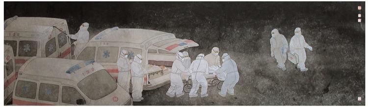 《白衣戰士》劉文輝  漆畫稿