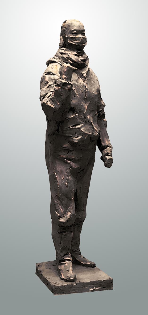 陳健 《武漢加油——志願者華雨辰像》 雕塑 2020年