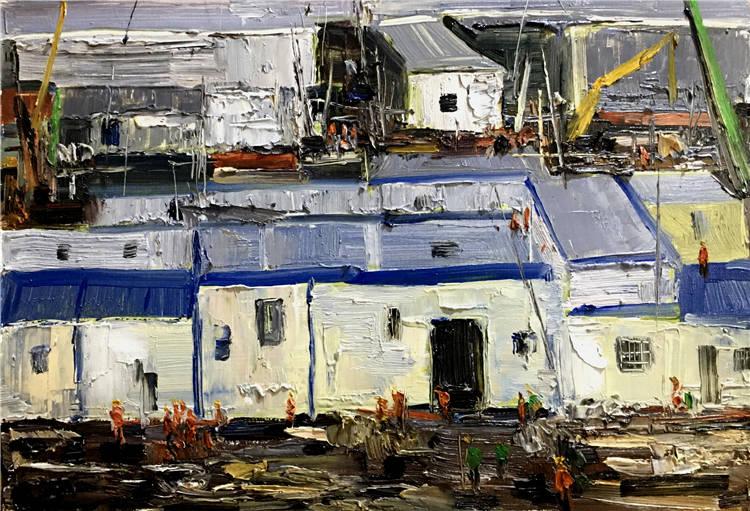 《十萬火急-雷神山醫院的建設》 姜旺  油畫