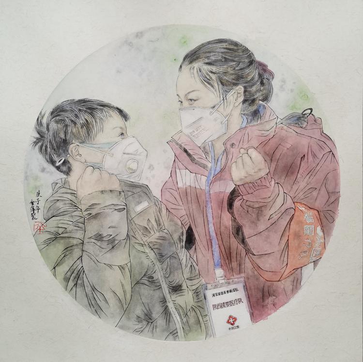 《妈妈加油》金萍  中国画