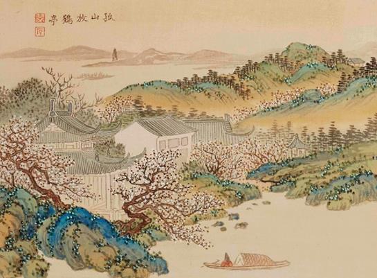晚清 杭蘇名勝之孤山放鶴 26.7×64.2cm 紙本水墨