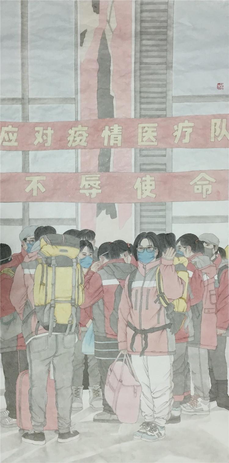《驰援武汉》 杨健生  中国画