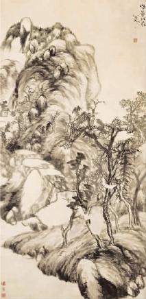 倣董北苑山水圖軸(中國畫) 八大山人