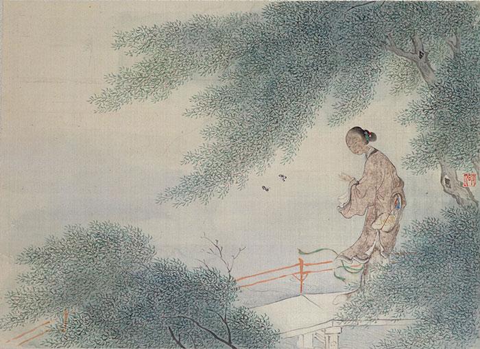 (清)費丹旭《十二金釵圖冊(十二開)——寶釵撲蝶》